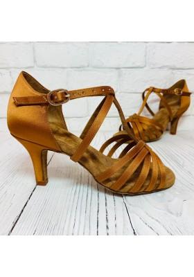 Galex - Emma-T-Bar - Tan-Satin - Heel - Flare 4cm