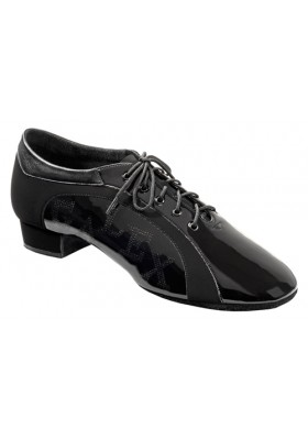Galex - Roberto - Boys Dance Shoes - Black Nubuck / Patent - Heel 1 inch