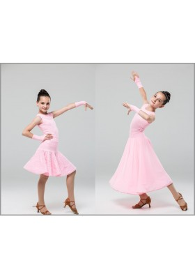Girl's Competition Dress with 2 Skirts - 60